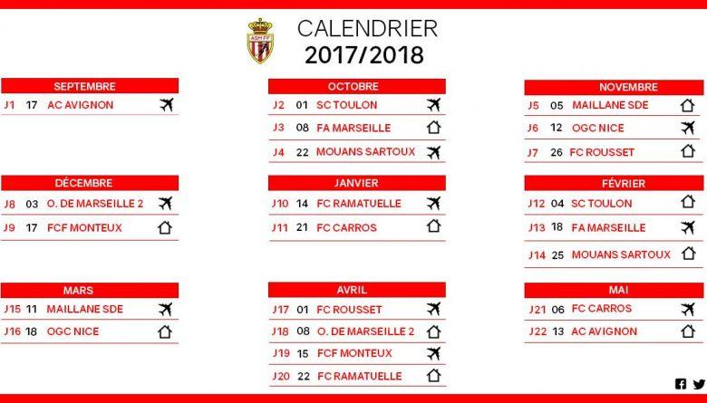 Calendrier As Monaco Féminin saison 2017-2018