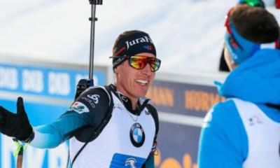Grand-Bornand - Quentin Fillon Maillet deuxième de la poursuite derrière Johannes Boe