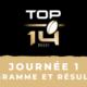 Calendrier Top 14 2020-2021 - 1ère journée - Programme et résultats