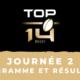 Calendrier Top 14 2020/2021 - 2ère journée : Programme et résultats