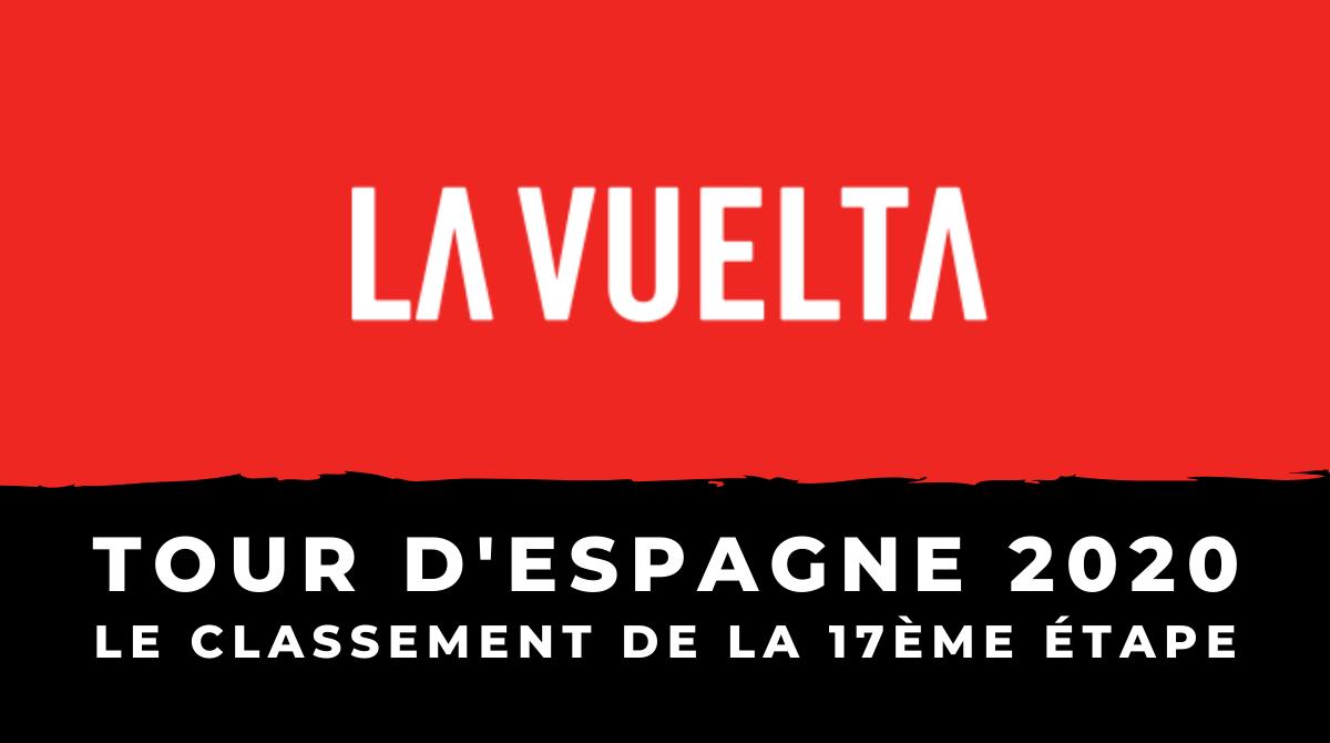 Cyclisme - Tour d'Espagne 2020 - Le classement de la 17ème étape