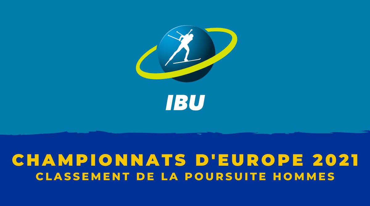 Championnats d'Europe de biathlon 2021 - Le classement de la poursuite hommes