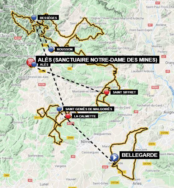 La carte du parcours de l'Etoile de Bessèges 2021