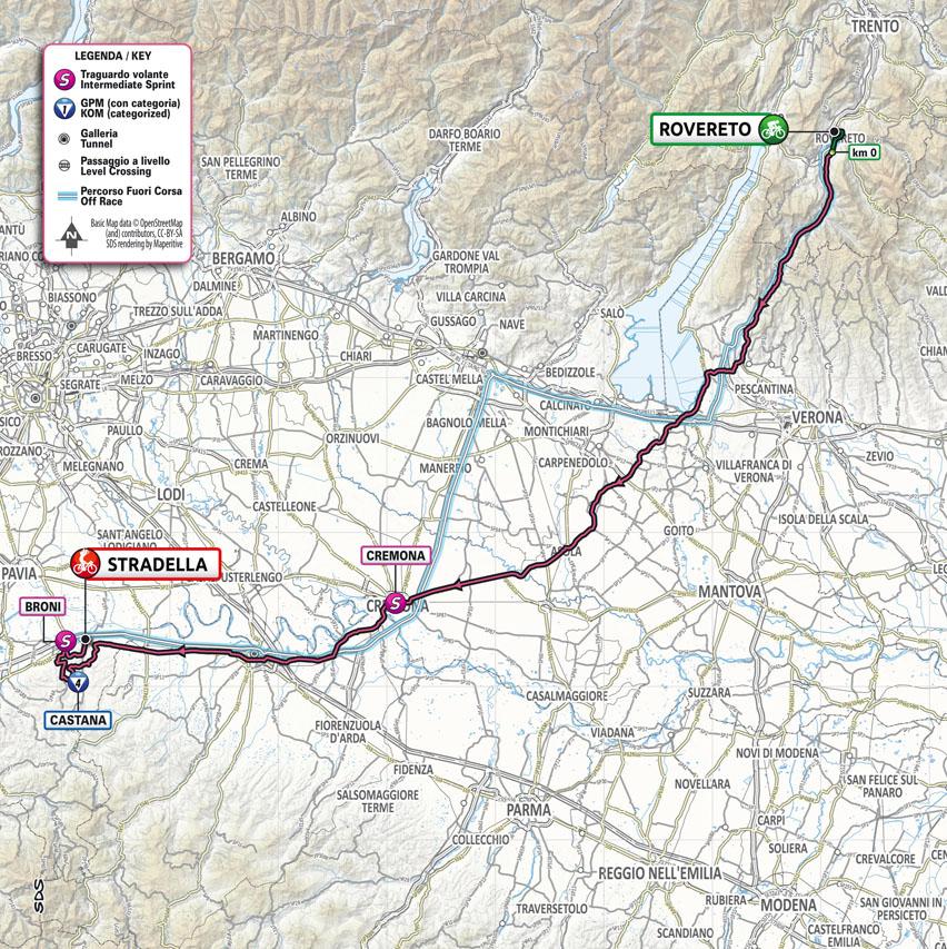 La carte du parcours de la 18ème étape du Tour d'Italie 2021