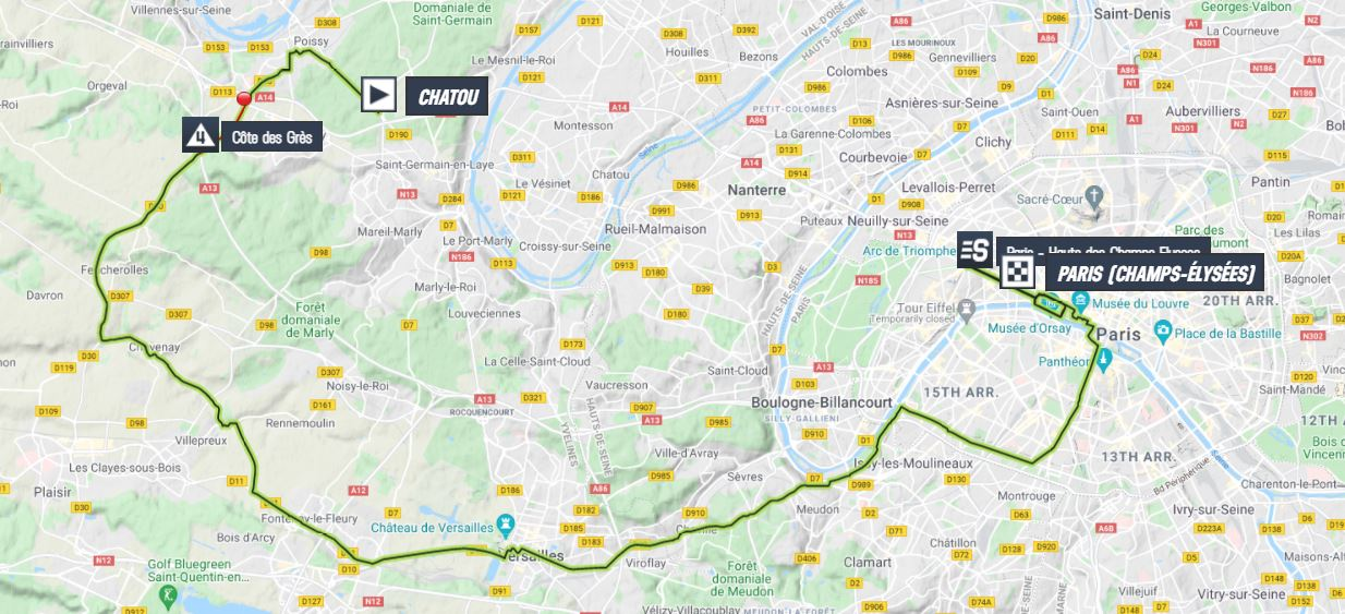 La carte du parcours de la 21ème étape du Tour de France 2021
