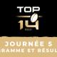 Calendrier Top 14 20212022 - 5ème journée Programme TV et résultats